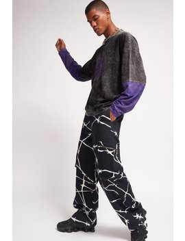 Barbed Wire Print Denim Cargo Trousers by Jaded London