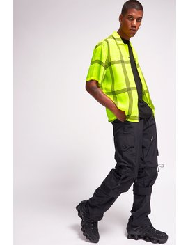 Neon Yellow & Black Check Short Sleeve Shirt by Jaded London