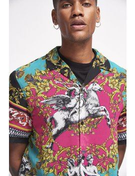 Neon Baroque Print Sheer Chiffon Shirt by Jaded London