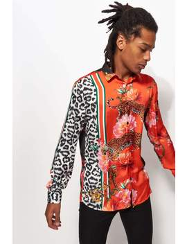 Leopard & Floral Long Sleeve Viscose Shirt by Jaded London
