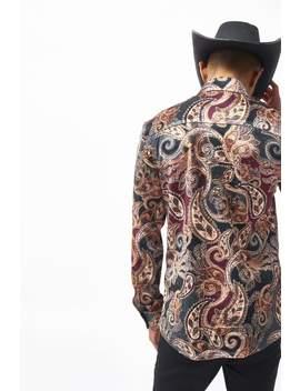 Paisley Long Sleeve Velvet Shirt by Jaded London