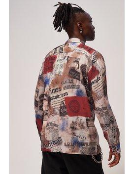 Vintage Newspaper Print Long Sleeve Shirt by Jaded London