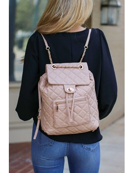Streamline Quilted Chain Backpack   Natural by Madison + Mallory