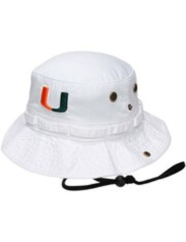 Top Of The World Miami Hurricanes White Angler Bucket Hat by Fans Edge