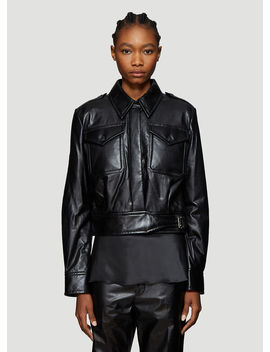 Chest Pocket Cropped Leather Jacket In Black by Helmut Lang