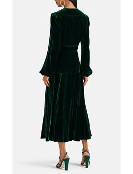 Terry Silk Velvet Keyhole Neck Maxi Dress by Raquel Diniz