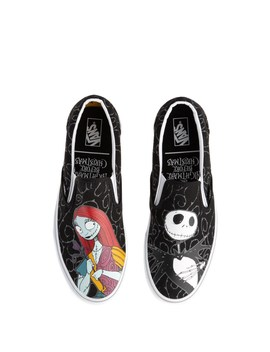 Vans X The Nightmare Before Christmas Slip On Jack & Sally Skate Shoe   Black by Vans