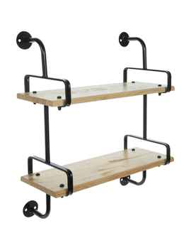 Double Wood Wall Shelf With Bars by Hobby Lobby