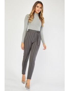 Belted High Waist Skinny Trousers by Everything5 Pounds