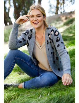 Leopard Print Open Front Cardigan by Maurices