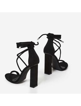 Torie Lace Up Block Heel In Black Faux Suede by Ego