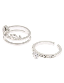 Silver Cubic Zirconia Tiara Stackable Rings   2 Pack by Claire's