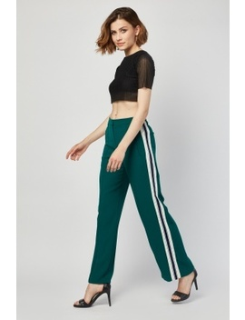 Stripe Side Wide Leg Green Trousers by Everything5 Pounds