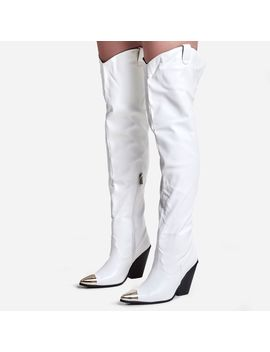 Gonna Toe Cap Detail Thigh High Western Long Boot In White Faux Leather by Ego