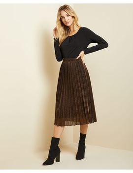 Bronze Lurez Pleated Midi Skirt by Rw & Co