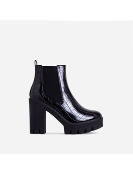 Liya Chunky Sole Ankle Chelsea Boot In Black Croc Print Faux Leather by Ego