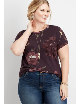 Plus Size 24/7 Floral Crew Neck Tee by Maurices