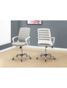 Monarch Polyester Office Chair   White/Grey by Best Buy