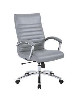 Work Smart Fl Mid Back Faux Leather Executive Chair   Grey by Best Buy
