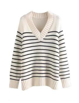 'ponnie' Striped V Neck Sweater by Goodnight Macaroon