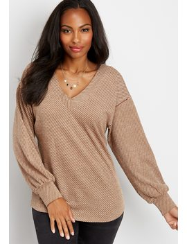 Slouchy Crochet Trim Pullover by Maurices