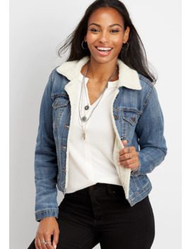 Sherpa Trim Denim Jacket by Maurices