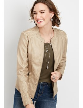 Faux Leather Pintuck Jacket by Maurices