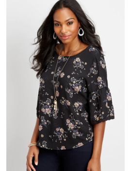 Floral Chiffon Bell Sleeve Blouse by Maurices