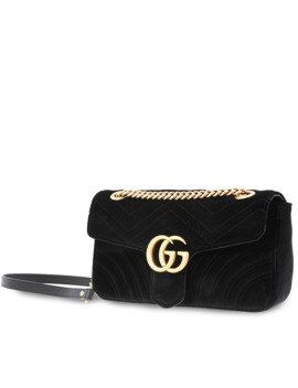 Ladies Shoulder Bag Gg Marmont Black Gg Nmnt Small Shld Vvt by Gucci