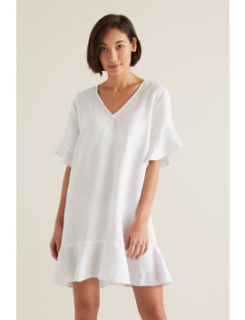 Linen Flutter Sleeve Dress by Seed Heritage