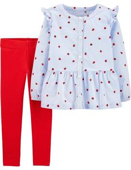 2 Piece Ladybug Button Front Top & Legging Set by Carter's| Toddler