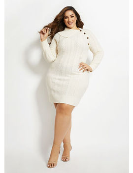 Cable Knit Button Sweater Dress by Ashley Stewart