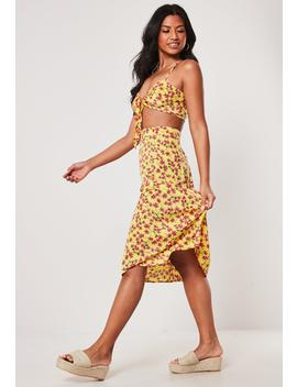 Yellow Floral Crop Top And Midi Skirt Co Ord Set by Missguided