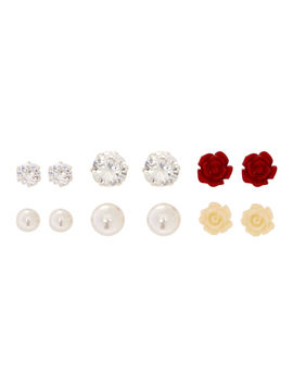 Cubic Zirconia Graduated Magnetic Stud Earrings   6 Pack by Claire's