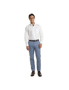 Slim Fit Chinos   Slate Blue by Peter Manning