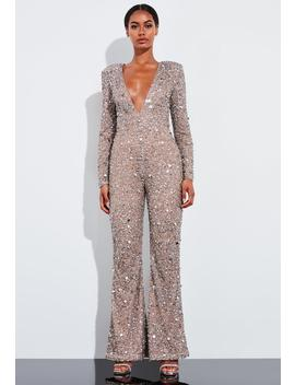 Peace + Love Silver Embellished Plunge Slim Leg Jumpsuit by Missguided