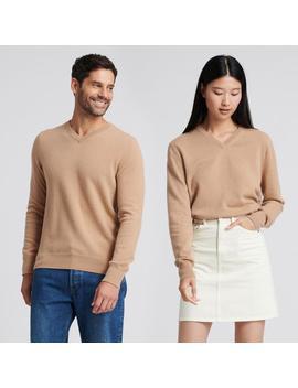 The Essential $75 Cashmere V Neck Sweater Camel by Naadam