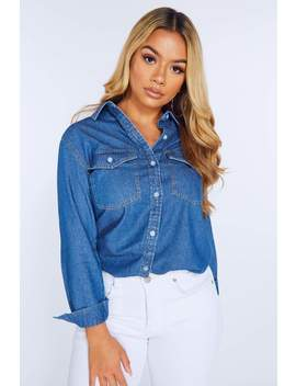 Mid Wash Denim Shirt by Hidden Fashion