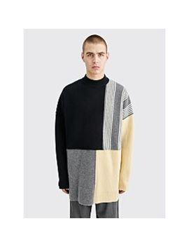 Jil Sander Knitted Wool Block Sweater Black by Très Bien