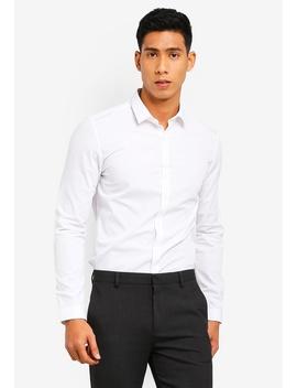 White Slim Smart Shirt by Topman