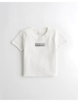 Cozy Waffle Crop Graphic Tee by Hollister