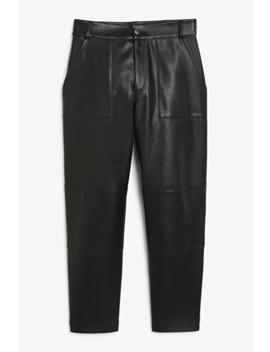 Faux Leather Trousers by Monki