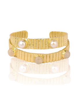 Nora 18k Gold Plated Pearl Cuff by Kanupriya
