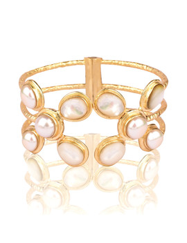 Montage 18k Gold Plated Pearl Cuff by Kanupriya