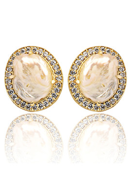 18k Gold Plated Baroque Pearl Earrings by Kanupriya