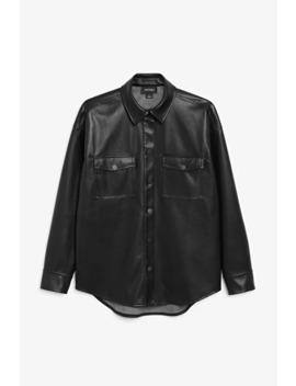 Faux Leather Shirt by Monki