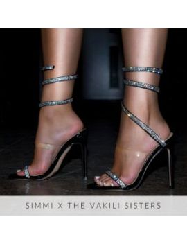 Anastacia Black Patent Diamante Cuff Stiletto Heels by Simmigirl