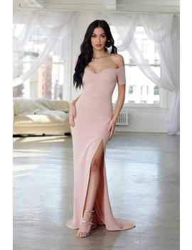 Pink Bardot Maxi Dress With Thigh Split by Club L London