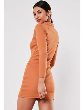 Orange Rib Polo Zip New Season Mini Dress by Missguided