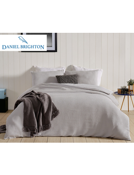 Daniel Brighton Bayside Waffle Quilt Cover Set   Silver by Daniel Brighton